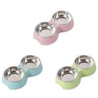 Vendendo Animais de estimação Bacia Multipurpose Multiário Palha de Trigo Duplo para gatos Cães Filhotes Alimentadores Azul / Verde / Pink Dog Bowls Gwe5778