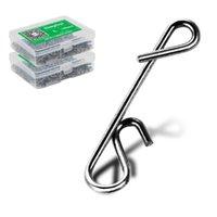 Fiske krokar 50-100pcs / box ss s l xl xxl rostfritt stål krok lås snap svängbart fast ringar säkerhet snaps koppling fisk verktyg