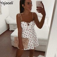 Yojoceli sexy correa baya impresión corta mujer vestido verano elegante playa casual fresco hembra mini lindo sol vestidos 210608