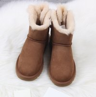 Designer-Snow Girl Winter Boots Leather Classic Over the Knee Half Length Ankle Black Grey Maroon Coffee Boots Warm Bailey Bow Fashion Girl