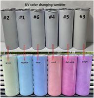 Sublimación 20 oz Cosa recta Botellas de agua UV Color Cambiando los tumblers resplandor en la taza de acero inoxidable de la taza de sol con tapas y paja