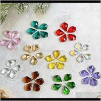 Decorações 22mm 10 pcs colorido folha de bordo prism lighitng suncatcher lustre peças mini pingente de cristal para decoração de casamento home h jl wefbg