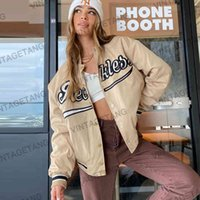 Women's Jackets Casaco de beisebol com alfabeto americano retrô cáqui, uniforme feminino casual tendência GQMM