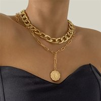 Yamog Metal Portrait Coin Pendant Necklaces Women Double Layer Alloy Tassel Thick Clavicle Chain Hip Hop Punk Letter Neck Jewelry European Gold Silver