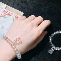 Link, Chain Cute Girly Clear White Crystal Bracelet For Women Boho Jewelry Geometric Leaves Beads Layered Hand Charm Set