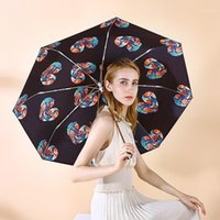 Umbrellas Three-folding Umbrella With Black Coating UV Protection Parasol Windproof Elegant Feather Design For Woman And Lady1