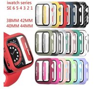 Suitable for Apple watch case PC Watch Cases For Apple Smartwatch 38mm 40mm 42mm 44mm with Tempered Glass Screen Protector Full Coverage