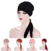 Этническая одежда Мусульманские женщины Мягкие тюрбанские шляпу предварительно завязанные шарф хлопчатобумажные шапочки шапочки капота капота бандана головной шапки бандана