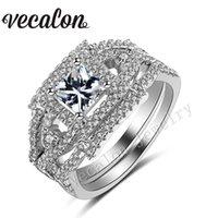 Vecalon Handmade Princess cut 1.5ct Cz Simulated diamond 10KT White Gold Filled Wedding Band Ring Set for Women Sz 5-11