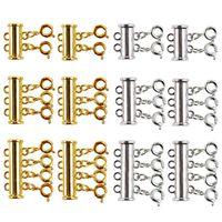 Stycken där storlek halsband glida magnetrör lås klämmor guld och silverpläterade kontakter för skiktad armband juden armband