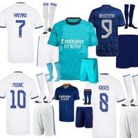 Real Madrid Hazard Kits Kit Futebol Jerseys Modric Benzema Home Away Terceiro Verde Alaba Camiseta de Fútbol Asensio Criança Futebol Camisas 21 22