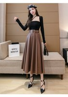 2021 Autumn winter new design women's high waist with belt maxi long retro ball gown PU leather skirt solid color plus size SMLXL