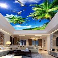Duvar Kağıtları Güzel Manzara Mavi Gökyüzü Beyaz Bulutlar Tavan Duvar Kağıdı 3d Duvar Kağıdı