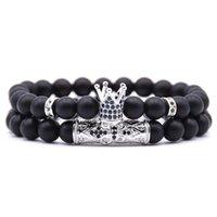 Perlé, brins 2pcs alliage couronne pavée zirconia cz pierre bijoux hommes bijoux bracelets bracelets accessoires black ensembles usine Price usine