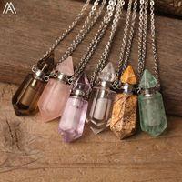 Moda Mujeres Pequeñas Piedra Natural Perfume Imágenes Jaspers Rosas Blancas Cuarzo Colgante Esencial Aceite Collar Cadenas de Regalo de Joyería