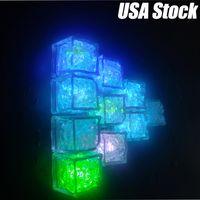 Cubos de gelo LED 7 Cor mudando a noite iluminada LED Glow Cubos de gelo Lâmpada para decoração de casamento Festa de cerveja de vidro indução