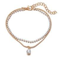 Double-pont Ankiène Rhasstal Cristal Charm Bracelet Boho Beach Anklets pour Femmes Sandales Foot Bracelets Femme Bijoux de mariage 179 W2