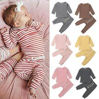 Clothing Sets 0-24M Born Toddler Baby Spring Autumn Striped Outfit Long Sleeve T-shirt Top Pants Boy Girl Casual Clothes Set
