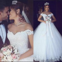 Luxury Lace Princess Ball Gown Wedding Dresses Off Shoulder Illusion Appliques Sweep Train Bridal Gowns Country Vestidoe De Noiva