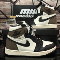 Top Quality AJ Nike Air Jordan 1 Retro Jumpman Mens Basketball Chaussures Fumée Grey Obsidienne Unc Créré Travis Scotts Court Violet Chicago Baskets Sneakers avec boîte