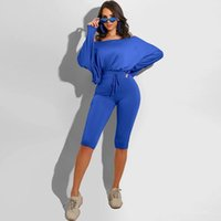 Women's Tracksuits Women Two Piece Sets Solid Color Long Sleeve T Shirt Tops & Fitness Shorts Tracksuit Fall Clothing Workout Matching