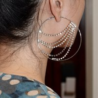hoop Cold Wind Diamond Chain Tassel Earrings Beautiful Simple Stainless Steel Ear Ring