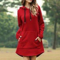 Women's Jackets Moletom com capuz de bolso cor slida simples casual manga prida inverno solto oversized hoodies vestido N8EC