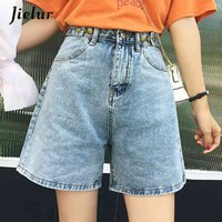 Jielur Breve Jeans Donne Color Solid Color 2020 Estate New Jean Femme Stile Coreano Moda Fashion Femminino Pantaloni a vita alta Denim Shorts Y0320