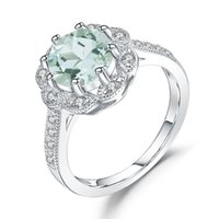 Cluster Rings GEM'S BALLET 2.04Ct Natural Green Amethyst Engagement Ring For Women Genuine 925 Sterling Silver Flower Fine Jewelry Gift