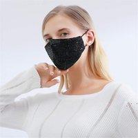 Pailletten Gesichtsmaske Erwachsene Schwarz Weiß Grün Gelb Bunte Reine Baumwollmasken Mode Stil Abnehmbare Dichtung Sonnencreme Gesichtsmaske FWA5171