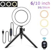 Inch Ring Light With Stand LED Camera Selfie For Beauty Video Live Streaming Mobilephone Lamp Flash Heads