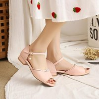 Sandals Lolita Style Pearl Buckle Fish Mouth Shoes Cute And Sweet Summer Casual Low-Heel Breathable Women's