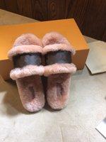 Escale Lock It Lockit شقة بغل إمرأة المنك الفراء النعال كونياك براون براءات قماش الشرائح الصنادل الشتاء الجوارب النساء الأحذية
