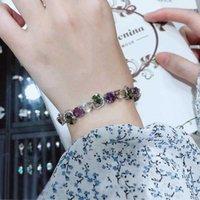 Charm Bracelets Luxury Colorful Bracelet Fashion Buckle Inlay Shiny Zircon 17cm Chain Geometry Jewelry For Women Party Birthday