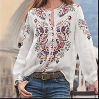 5XL Plus Size Spring Women Shirt Fashion Long Sleeve Floral ...