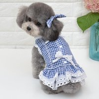 Dog Apparel Summer Plaid Dress Pet Clothes For Small Party Birthday Wedding Bowknot Puppy Costume Spring