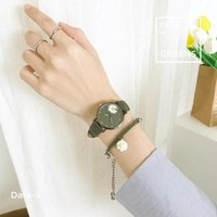 Wristwatches Fresh Daisy Women Watches Fashion Casual Flower Ladies Green Vintage Leather Quartz Watch Simple Woman Clock Gifts