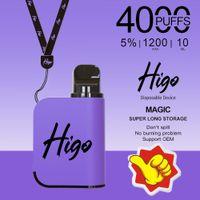 Original Higo-Magic Electronic Cigarette Disposable Vape 1200mAh Battery 10ml Pods 4000puffs With Bulk Price