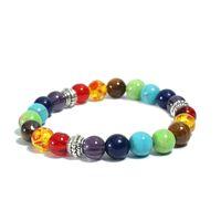 Beaded Armband 7 Chakra Healing Stone Strands Armband Crystal Gemstone Smycken För Kvinnor Yoga Meditation Partihandel