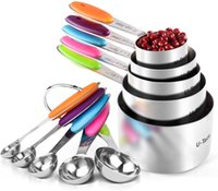 5 Measuring Tools Cups and Five Measure Spoons, Color Handle, Premium Stainless Steel, First Choice for Kitchen Baking