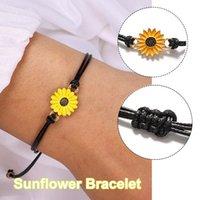 Elegant Bracelets On Hand Sunflower Set For 2 Relationship Bracelet Sisters Mother Gift Bijoux Femme Anime Link, Chain