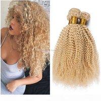 Moda loira kinky curly hair extensões barato # 613 loira trama de tecelagem não transformada cabelo humano indiano tecer pacotes afro kinky encaracolado