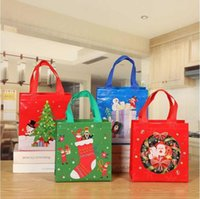 Рождественская подарочная упаковка сумка не сплетенная цветная печать Сумка Santas Bag Close Candy Claus Bags Xmas Pired Santa Sacks для украшения фестиваля
