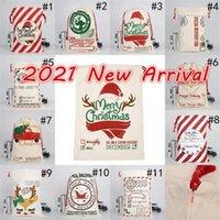 Estoque 2021 Natal Santa Sacos Canvas Algodão Bags Grandes Sacos de Presente de Draorstring Pesado Personalizado Festival Party Christmas Decoração