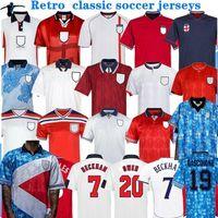 Retro Jersey 1982 1994 1998 2002 월드컵 영국 축구 유니폼 홈 멀리 키트 Beckham Gascoigne Owen Gerrard 레트로 클래식 축구 셔츠