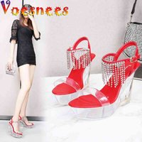 Voesnees Buckle Strap Women Shoes Fashion Show 10CM Wedge Party Shoes High-heeled Sandals Transparent Crystal Platform Shoes 210514