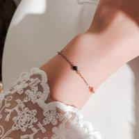 Herzförmige Vier-Blatt-Blume Titan-Stahl-Armband weibliche kalte Wind-glückliche Kette Ins Schmucklink,