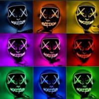 US STOCK Halloween Horror mask LED Glowing masks Purge Masks Election Costume DJ Party Light Up Masks Glow In Dark 10 Colors gyq