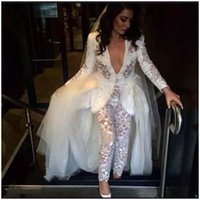 Vintage Lihi Hod Jumpsuit Wedding Dresses With Detachable Train Lace Appliqued Boho Bridal Gowns Sexy Plunging Neck Country Weddi