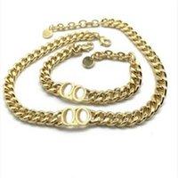 2021 Fashion in acciaio inox Lettera Choker 14K Gold Cuban Collana Collana Bracciale Bracciale Per Orecchini per uomo e donna Amanti regalo con scatola